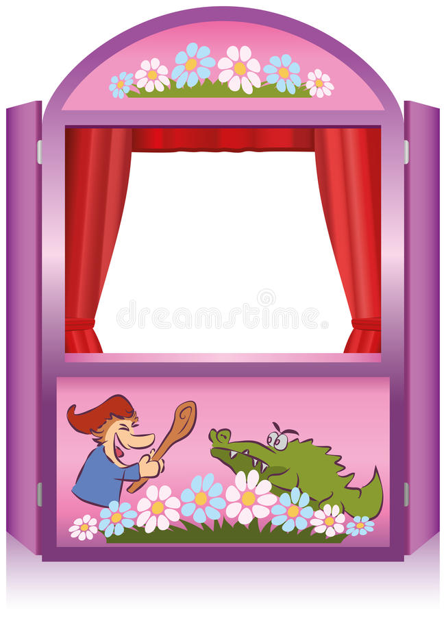 Punch And Judy Booth. Punch and Judy, a traditional, popular puppet show. Pink booth for the puppeteer vector illustration