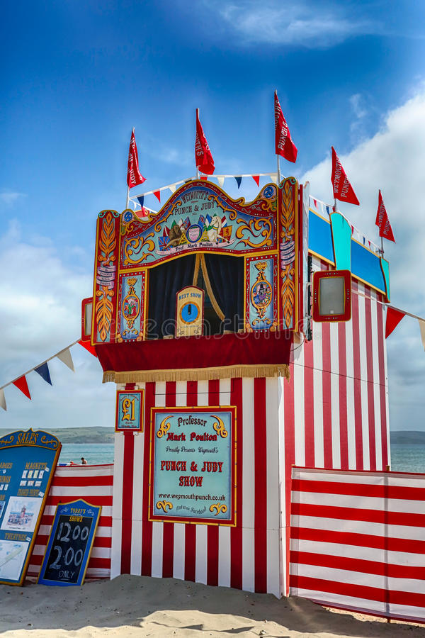 Punch & Judy. A Punch & Judy tent located on the beach at Weymouth, Dorset in England royalty free stock photos