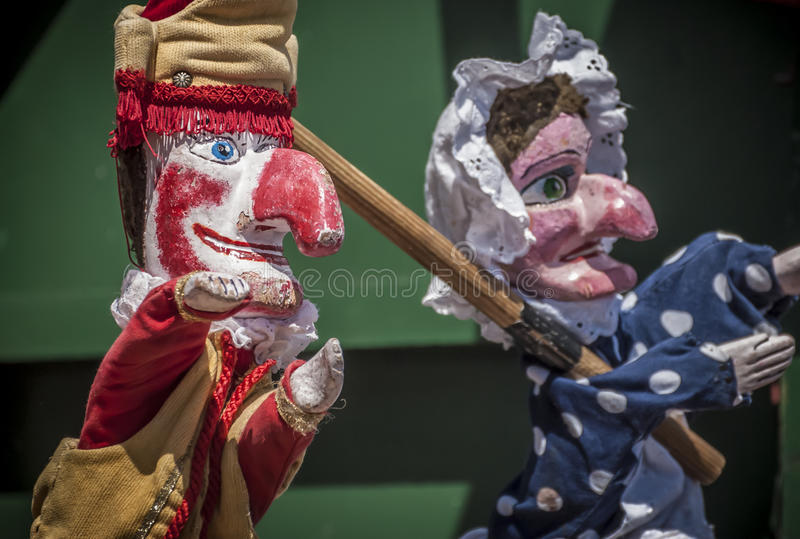 Punch And Judy. Traditional British seaside puppet show featuring Punch and Judy stock image