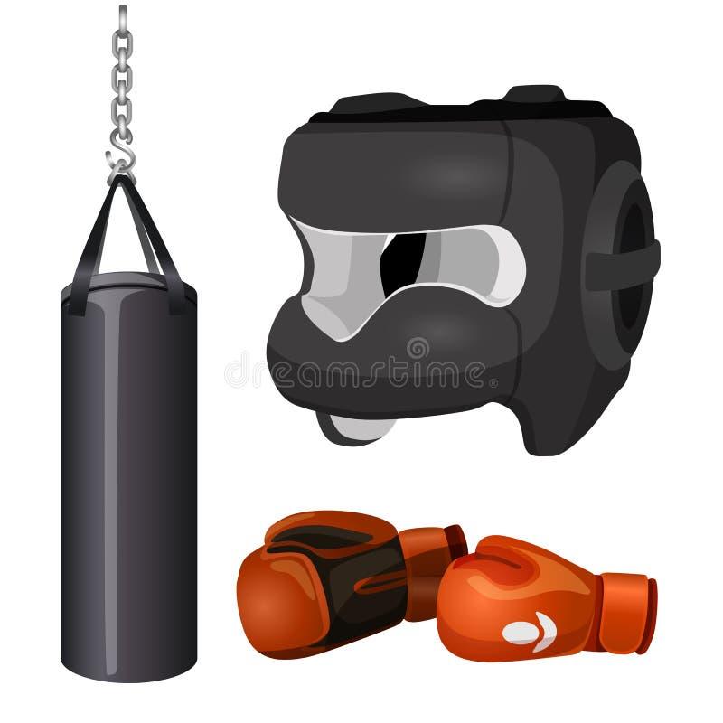 Punchbag do equipamento de encaixotamento na corrente, máscara protetora da chapelaria, luvas de couro ilustração stock