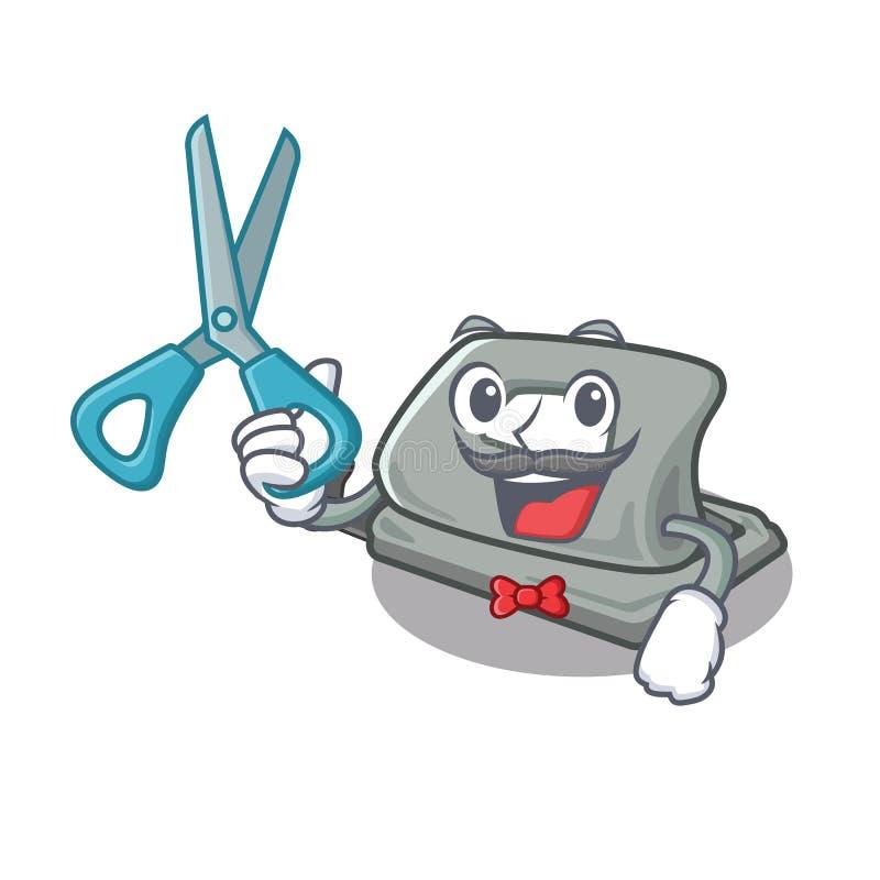 Puncher de agujero del peluquero en la tabla de la mascota stock de ilustración