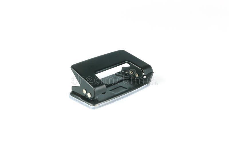 Puncher för hål för svart kontorspappersmetall som stationär isoleras på vit bakgrund royaltyfri fotografi