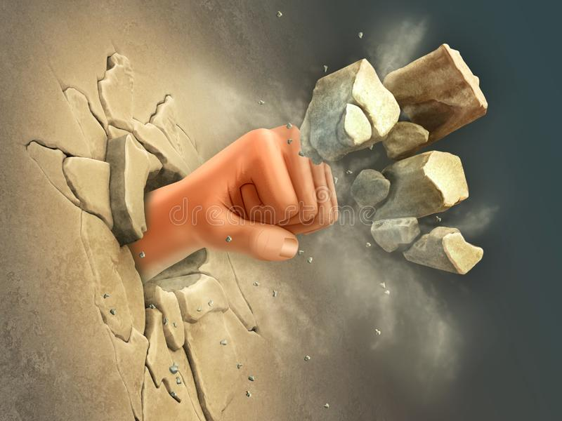 Punching μια τρύπα μέσω ενός τοίχου ελεύθερη απεικόνιση δικαιώματος