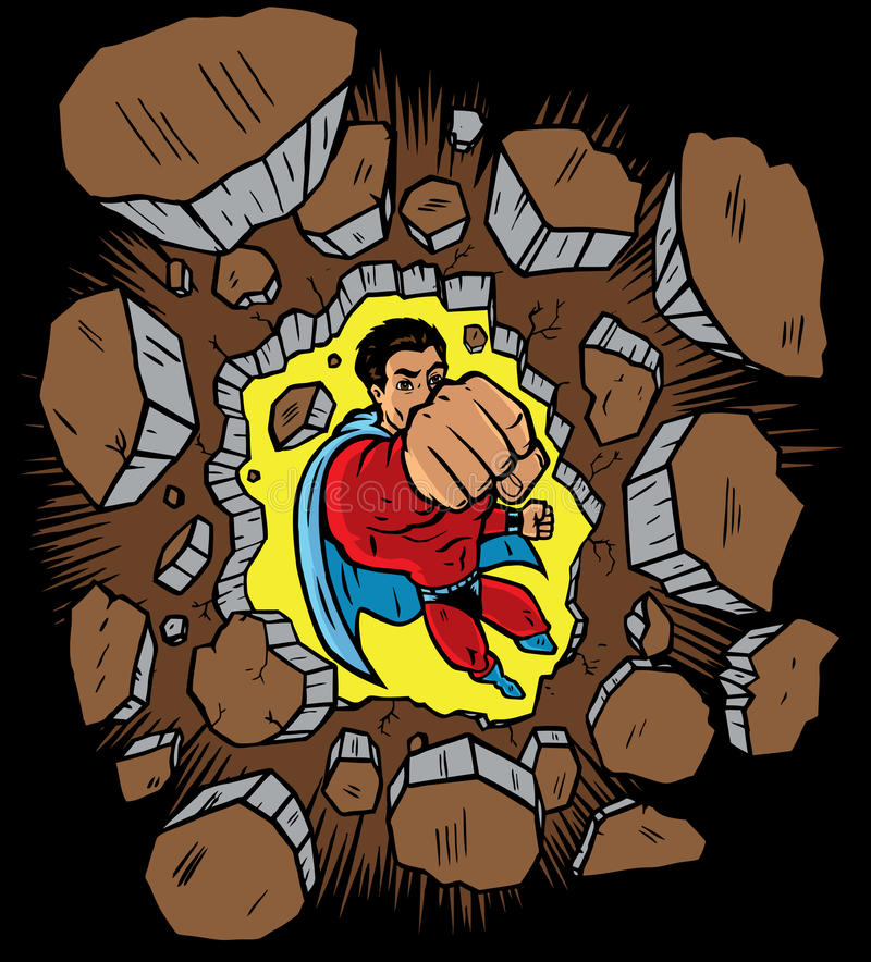 punching τοίχος superhero απεικόνιση αποθεμάτων