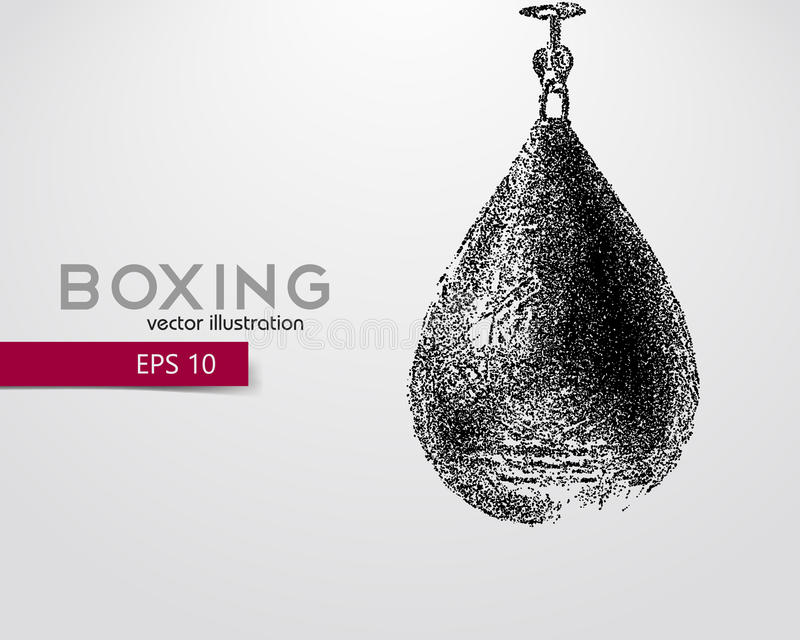 Punching bag from particles. Background and text on a separate layer, color can be changed in one click. Boxer. Boxing. Boxer silhouette royalty free illustration