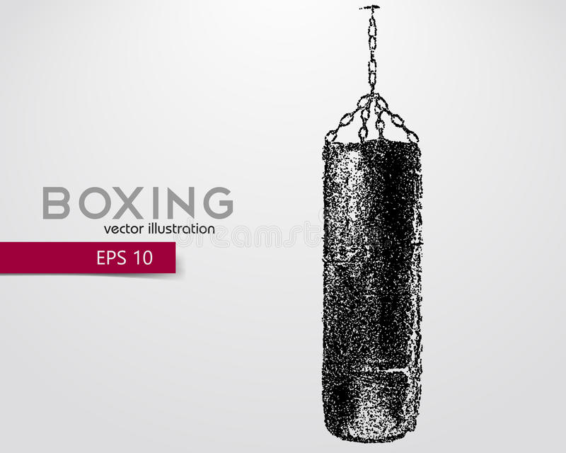 Punching bag from particles. Background and text on a separate layer, color can be changed in one click. Boxer. Boxing. Boxer silhouette stock illustration