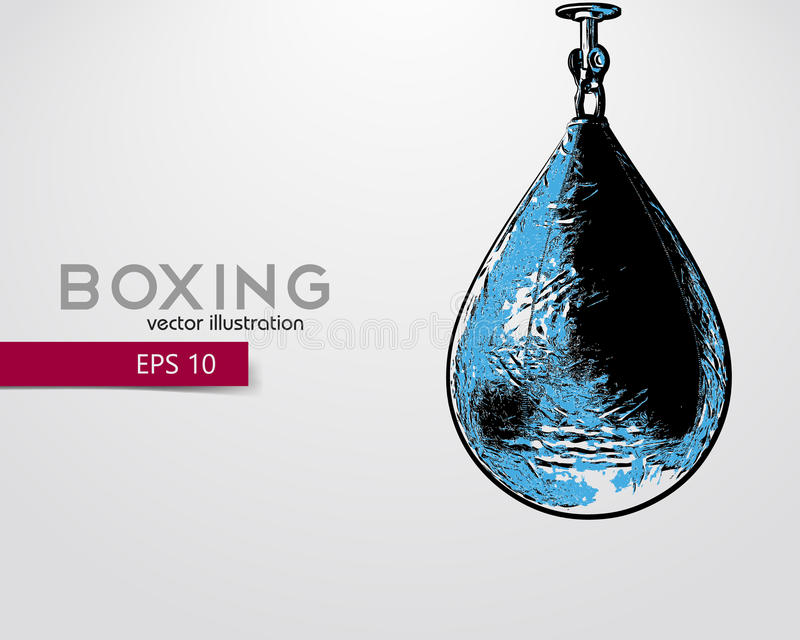 Punching bag silhouette. Background and text on a separate layer, color can be changed in one click. Boxer. Boxing. Punching bag silhouette royalty free illustration
