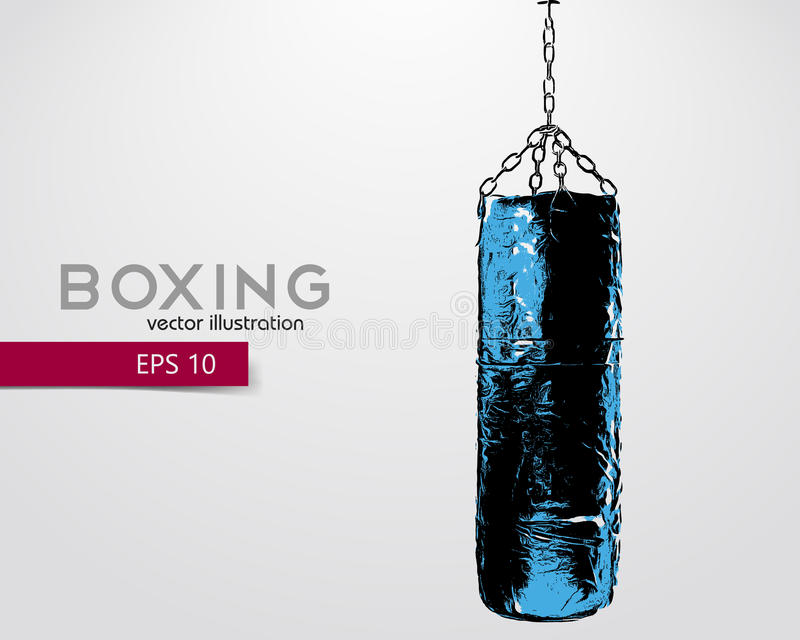 Punching bag silhouette. Background and text on a separate layer, color can be changed in one click. Boxer. Boxing. Punching bag silhouette stock illustration