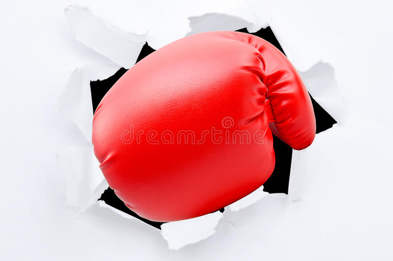 Punching boxing glove royalty free stock image