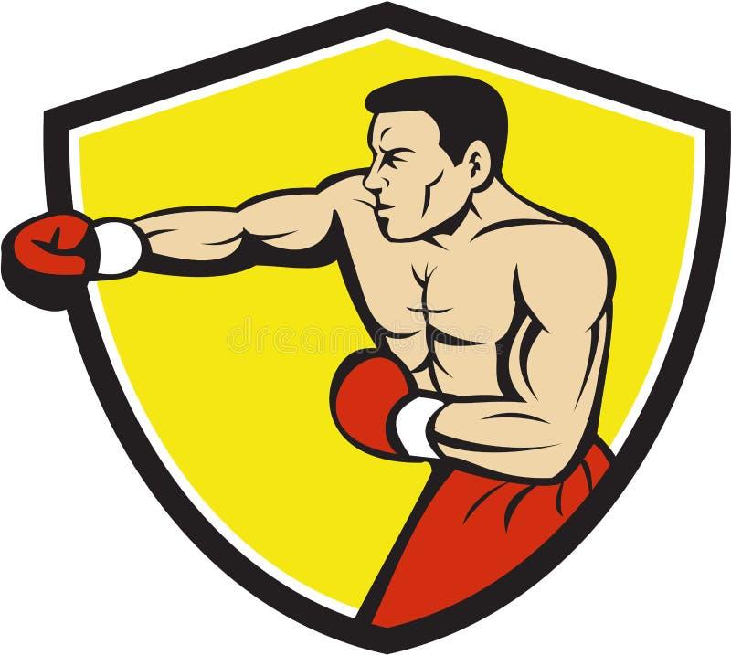 Punching Jabbing μπόξερ κινούμενα σχέδια CREST διανυσματική απεικόνιση