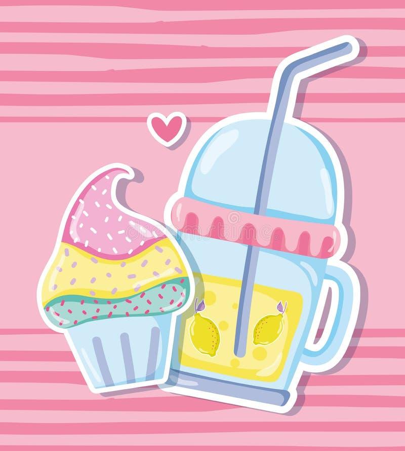 Punchy pastell muffin och fruktsaft royaltyfri illustrationer