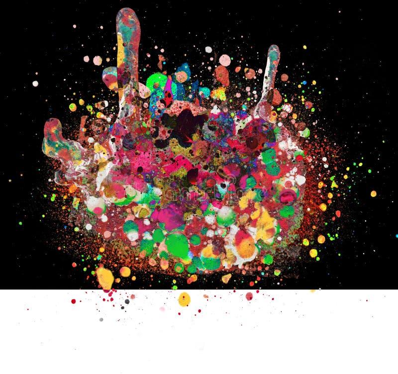 Punchy Splatter skład Przeciw Czarny I Biały tłu obraz stock