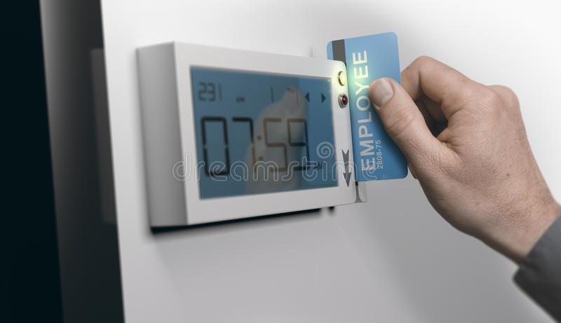 Punctuality at Work, Swipe-Card System stock illustration