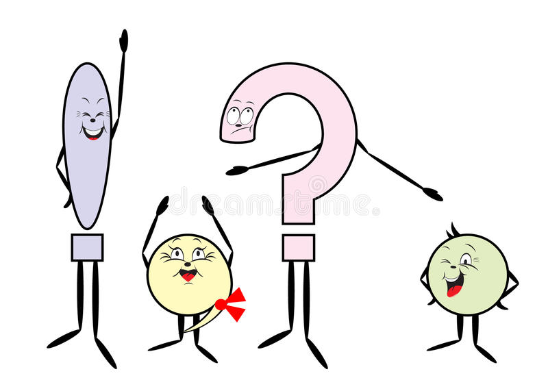 Punctuation marks. Color punctuation marks, question mark, exclamation mark, point, comma stock illustration