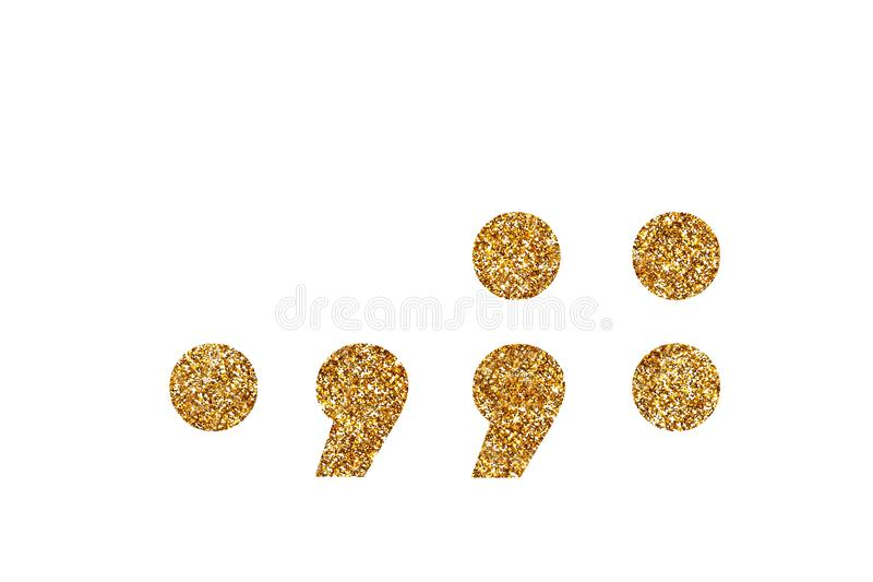 Punctuation marks. English alphabet. Isolated on white background. Punctuation marks. Letters and Numbers from golden grains of sand. English alphabet. Isolated stock photos