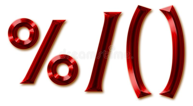 Punctuation marks from stylish faceted ruby alphabet. Shiny gemstone letters, numbers and and special signs royalty free illustration