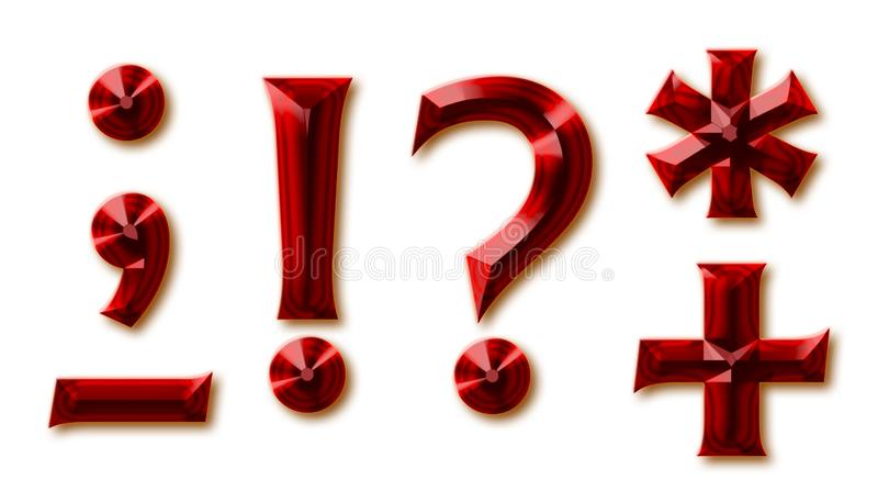 Punctuation marks from stylish faceted ruby alphabet. Shiny gemstone letters, numbers and and special signs stock illustration