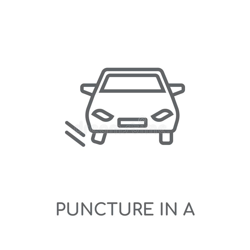 Puncture in a wheel linear icon. Modern outline Puncture in a wh vector illustration