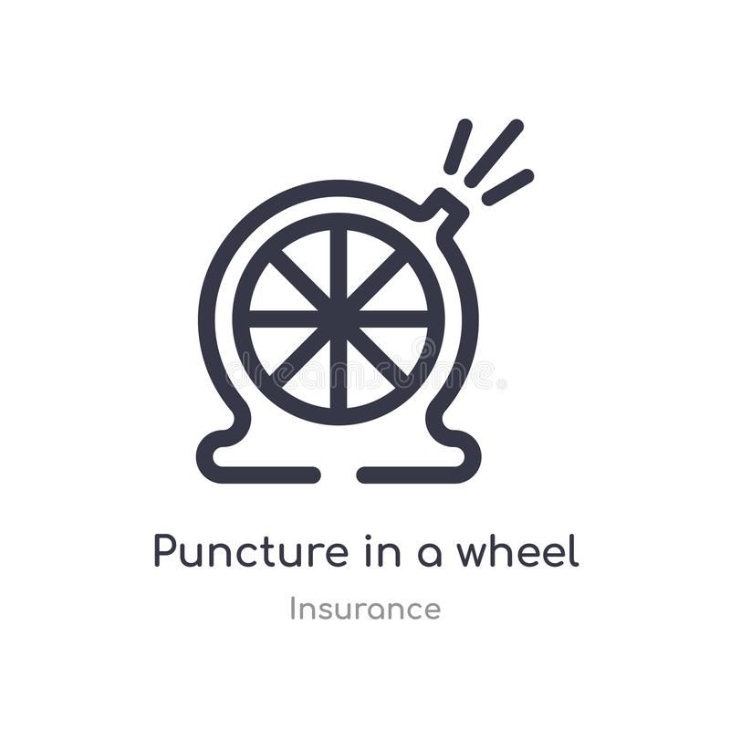 puncture in a wheel outline icon. isolated line vector illustration from insurance collection. editable thin stroke puncture in a stock illustration