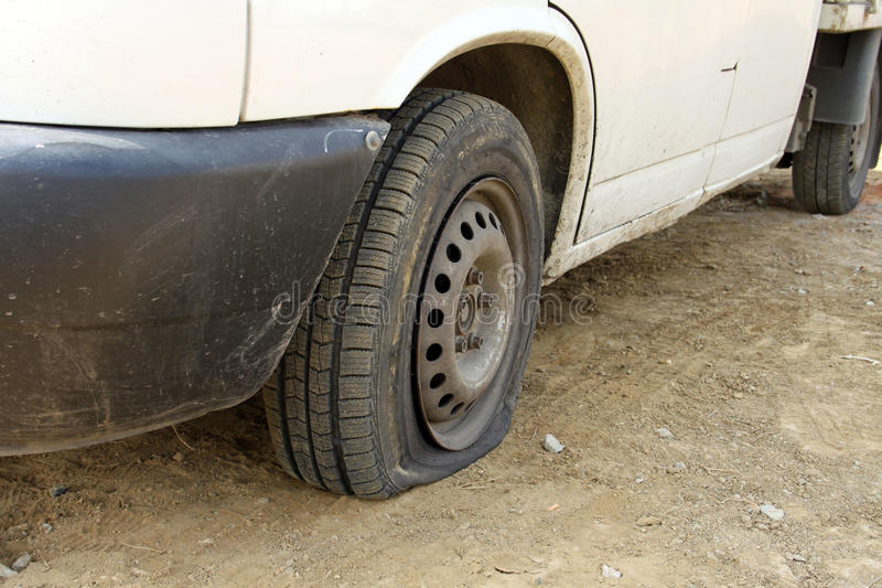 Punctured tires. Is a frequent defect stock photo