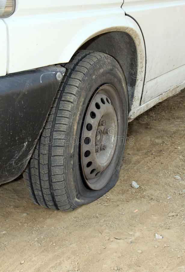 Punctured tires. Is a frequent defect stock photography