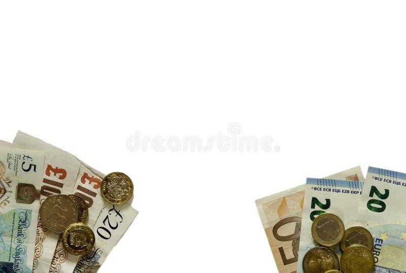 Pund Sterling och euro` s arkivfoto
