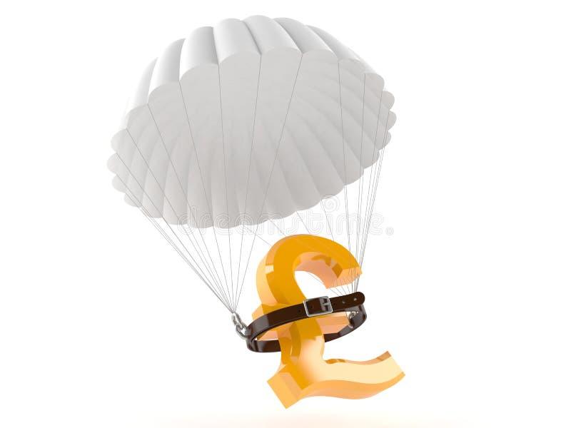 Pundsymbolet med hoppa fallskärm stock illustrationer
