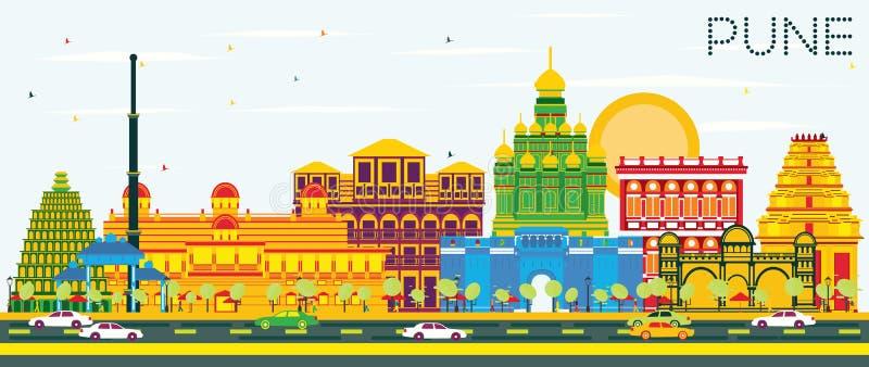 Pune horisont med färgbyggnader och blå himmel vektor illustrationer