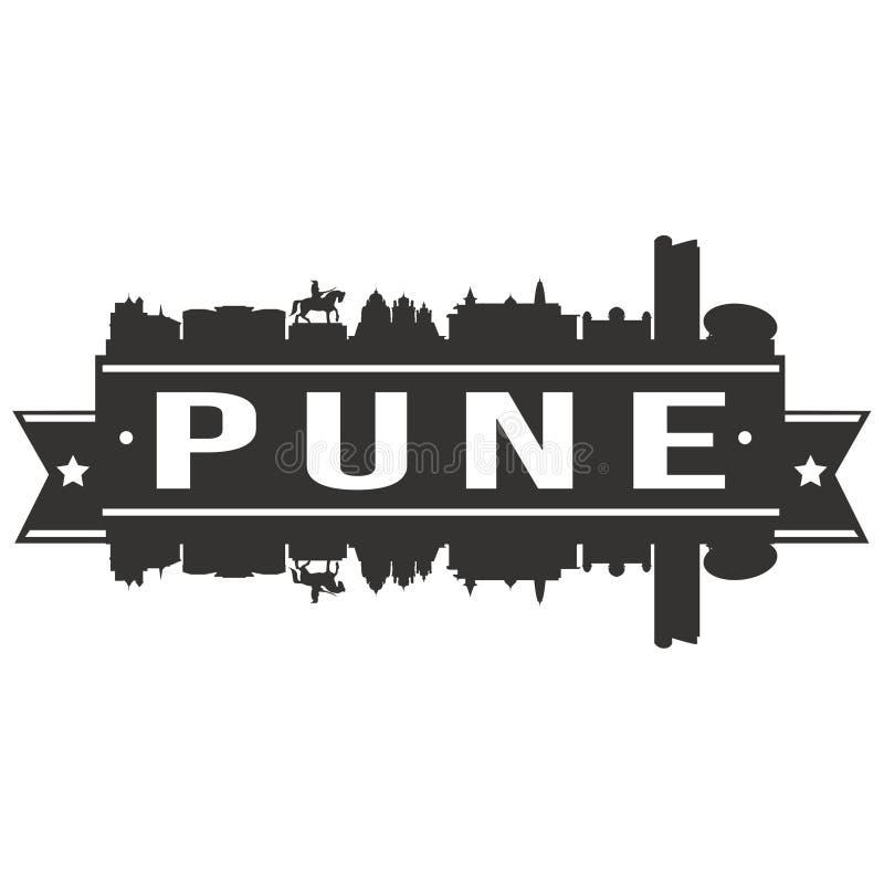 Pune India Azja ikony sztuki projekta linii horyzontu miasta Wektorowej Płaskiej sylwetki Editable szablon ilustracja wektor