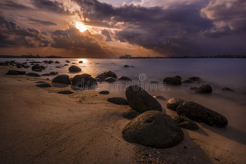 Punggol Beach, Singapore. Peaceful afternoon on Punggol Beach in Singapore stock photos