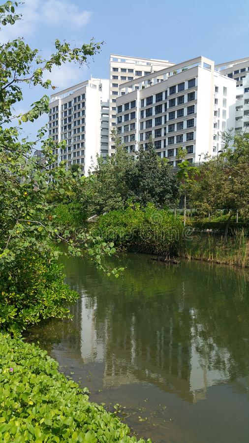 Punggol-Wasserstraße mit Wohnungen stockbilder