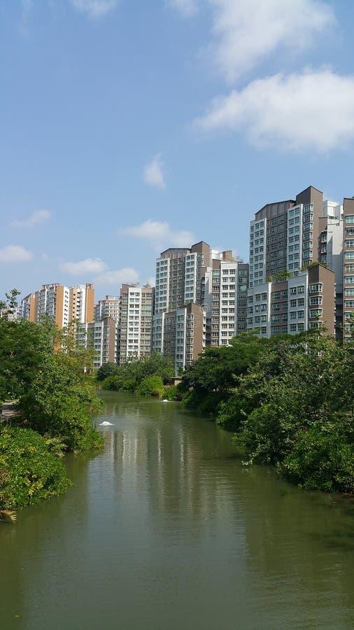 Punggolwaterweg met flats stock afbeeldingen
