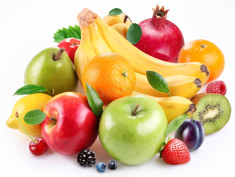 Punhado da fruta e das bagas imagens de stock