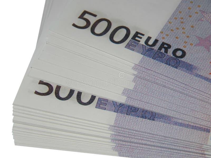 Punhado do dinheiro para 500 euro imagem de stock royalty free