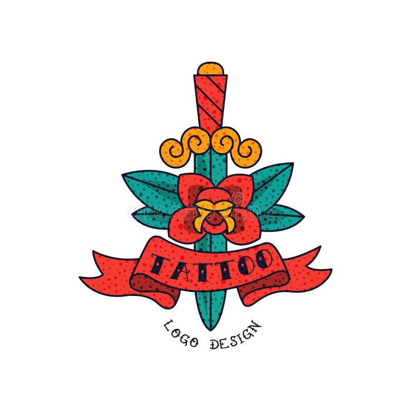 Punhal, flor da rosa do vermelho, fita e tatuagem da palavra, ilustração americana clássica do vetor da tatuagem da velha escola  ilustração do vetor