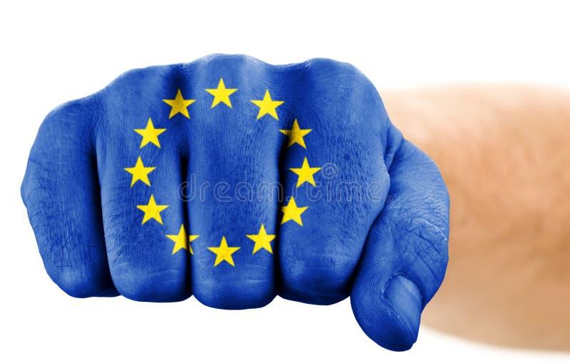 Punho com a bandeira da União Europeia fotografia de stock royalty free
