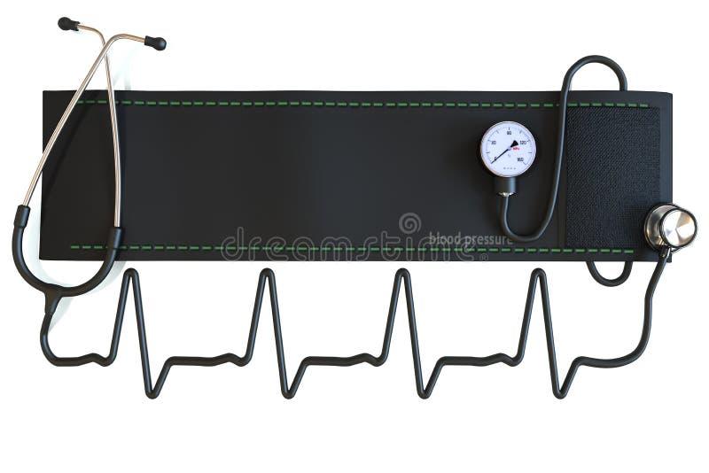Punho da pressão sanguínea com o estetoscópio na forma de uma forma de onda do coração. foto de stock royalty free