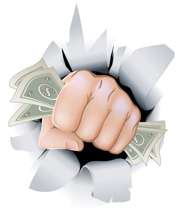 Punho do dinheiro que quebra através da parede ilustração stock