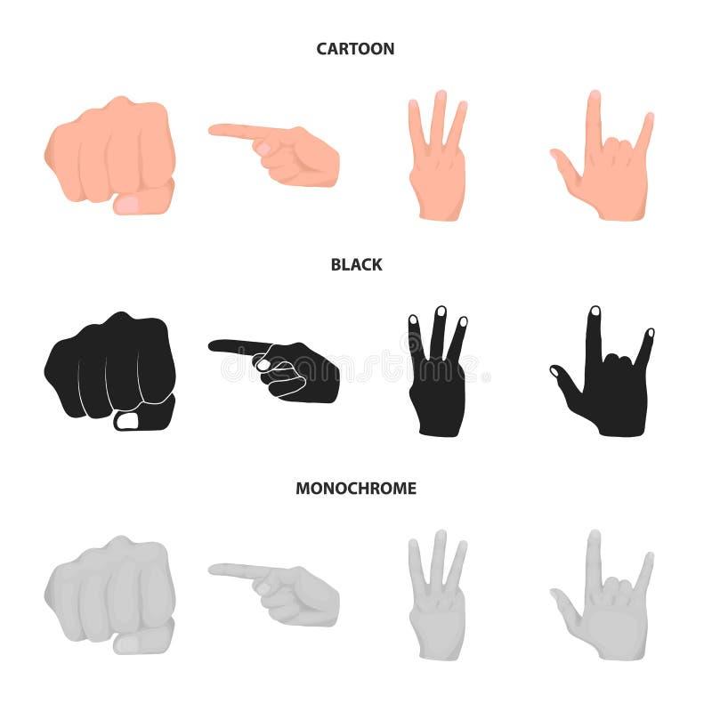 Punho fechado, índice, e outros gestos Os gestos de mão ajustaram ícones da coleção nos desenhos animados, preto, vetor monocromá ilustração do vetor