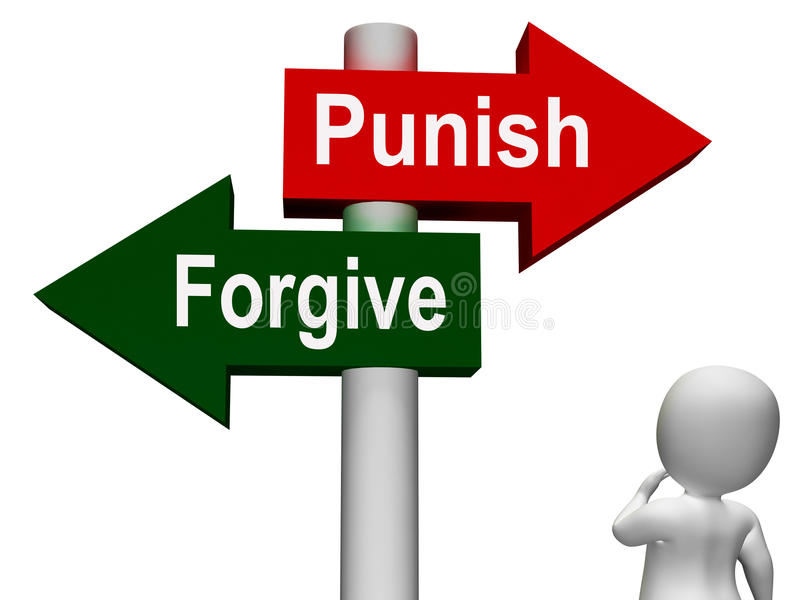 Punish Forgive Signpost Shows Punishment. Punish Forgive Signpost Showing Punishment or Forgiveness vector illustration