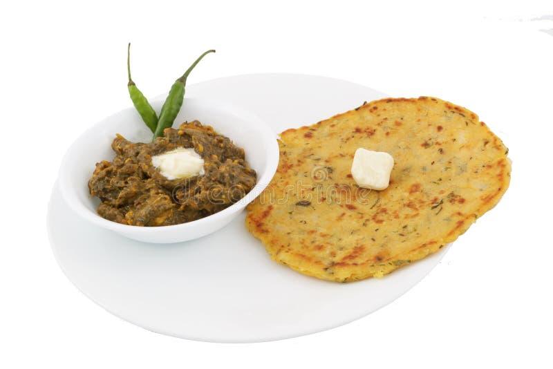 Punjabi Saag Roti royaltyfri fotografi