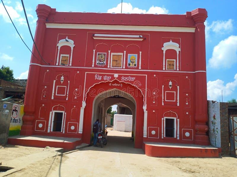 Punjabi villager font in village Chhathe fotografering för bildbyråer