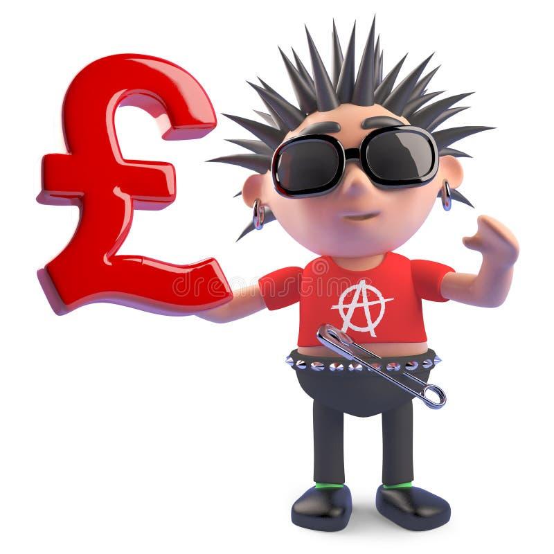 Punk britannique tenant un symbole monétaire BRITANNIQUE de livres sterling, illustration 3d illustration de vecteur
