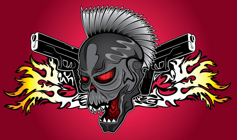 Punk cyber human skull with pistols and fire flames background stock download punk cyber human skull with pistols and fire flames background stock illustration illustration of voltagebd Gallery
