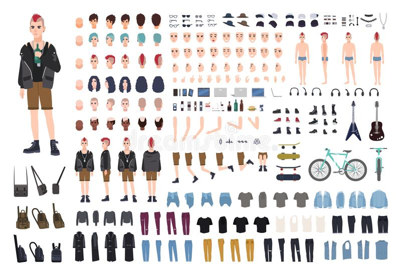 Punk DIY or constructor kit. Set of young male character or teenager body parts, emotions, postures, outfit, subculture royalty free illustration