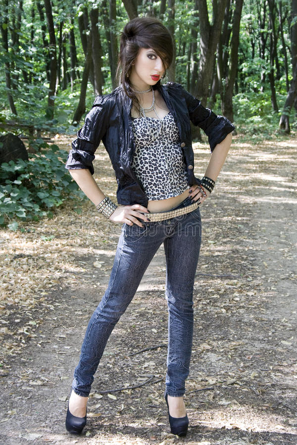 Young woman in punk fashion stock image