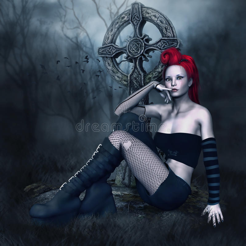 Free Punk Girl By A Cemetery Cross Stock Photos - 45150443