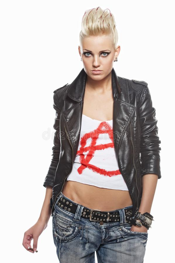 Download Punk girl with a cigarette stock image. Image of jacket - 20621057
