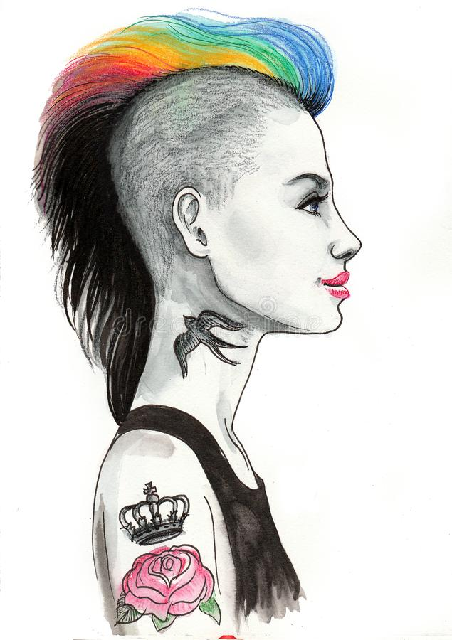 Punk girl with a rose tattoo royalty free illustration