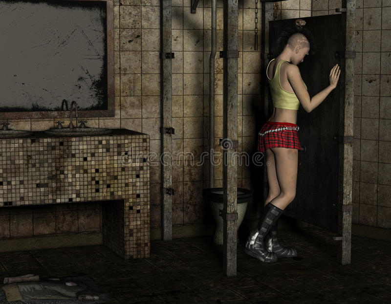 Download Punk Girl Stands In A Toilet Stock Illustration - Image: 26734131
